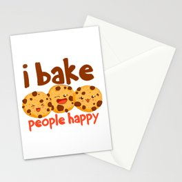 Pastry Chef Baker I Bake People Happy Cookie Stationery Cards