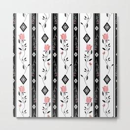 Retro pattern. Roses. Metal Print