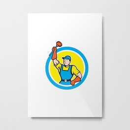 Super Plumber With Plunger Circle Cartoon Metal Print