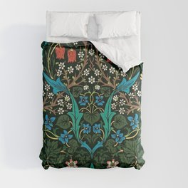 William Morris Tulips, Blue Columbine, Orchids, & Sunflowers Textile Flower Print Comforters