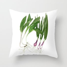 Ramps + Spring Onions Throw Pillow