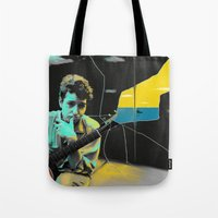 bob dylan Tote Bags featuring Bob Dylan by Zmudartist