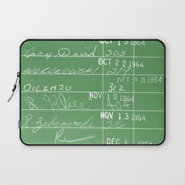Library Card 23322 Negative Green Laptop Sleeve