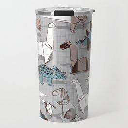 Origami dino friends // grey linen texture blue dinosaurs Travel Mug