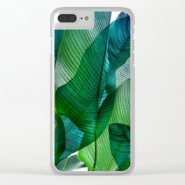 Palm leaf jungle Bali banana palm frond greens Clear iPhone Case