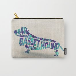 Basset Hound Typography Art / Watercolor Painting Carry-All Pouch