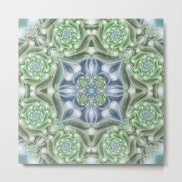 Shades of Green Mandala Metal Print
