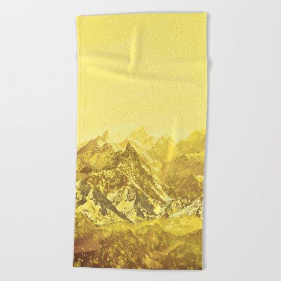 Mountains Yellow Beach Towel