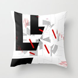 black and white meets red Version 10 Throw Pillow