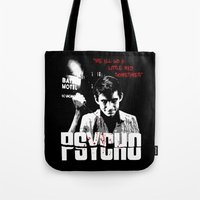 psycho Tote Bags featuring Psycho by PsychoBudgie