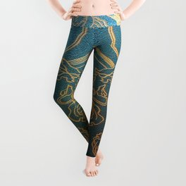Art Nouveau,teal and gold Leggings