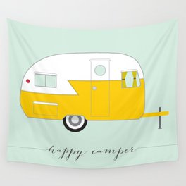 Yellow Happy Camper Wall Tapestry