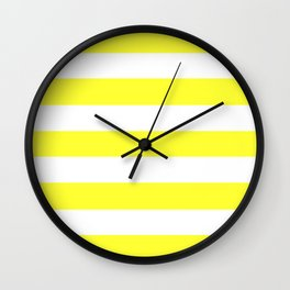 Electric yellow - solid color - white stripes pattern Wall Clock