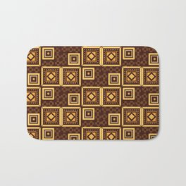Brown and Golden Songket Pattern Bath Mat