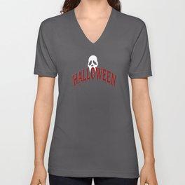 Halloween IV (red & white on black) Unisex V-Neck