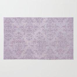 Vintage chic violet lilac floral damask pattern Rug