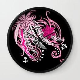 Pink Hawaii Tribal Threads Wall Clock