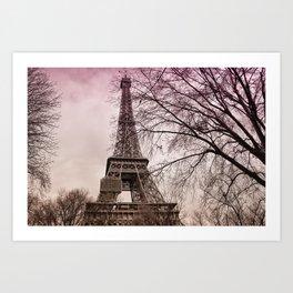 Eiffel Tower Paris in pink Art Print