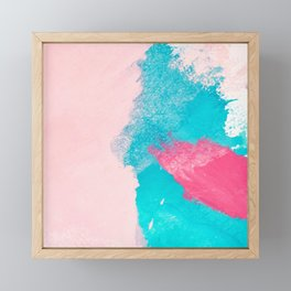 Blush pink blue teal watercolor hand painted brushstrokes Framed Mini Art Print