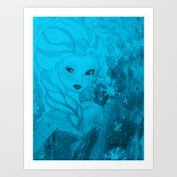 frozen elsa Art Prints featuring Frozen Elsa by ALynnArts