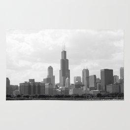 Chicago Skyline Black and White Rug