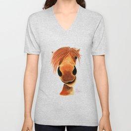 Happy Horse ' GINGER NUT ' by Shirley MacArthur Unisex V-Neck