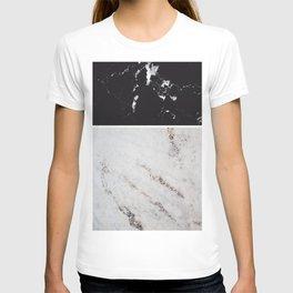 Black Marble & White Glitter Marble #1 #decor #art #society6 T-shirt