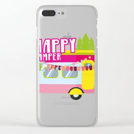 Happy Camper Road Trip Camping Vacation Funny Clear iPhone Case