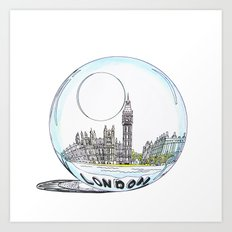 London painted in pastel colours in a glass bowl Art Print