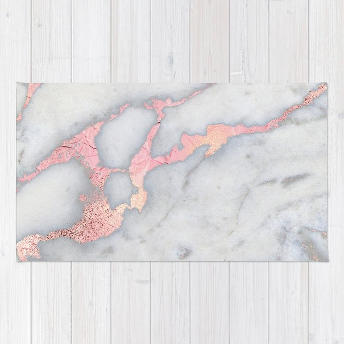 Rosegold Pink On Grey Marble Metallic Foil Style Rug By