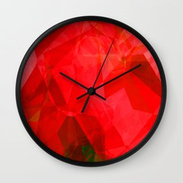 Mottled Red Poinsettia 1 Ephemeral Abstract Polygons 1 Wall Clock