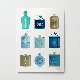 Flask Collection – Blue and Tan Palette Metal Print