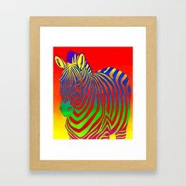 Colorful Psychedelic Rainbow Zebra Framed Art Print