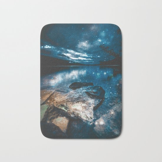 Magical Mountain Lake Teal Blue Brown Bath Mat