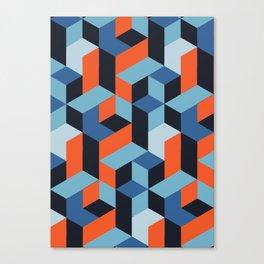 Orange and Blue Geometric pattern Canvas Print