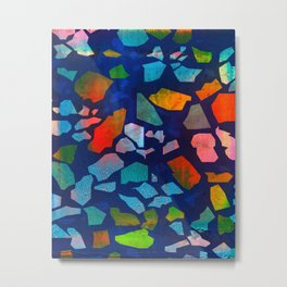 Sea Glass Royal Blue Pattern Metal Print