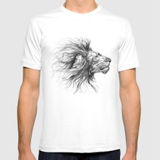 lion White Mens Fitted Tee MEDIUM