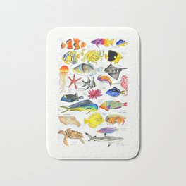 Pen and Ink Watercolored Fish Species Chart Bath Mat