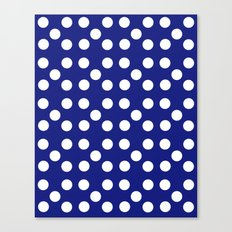 Dots - Blue / White Canvas Print