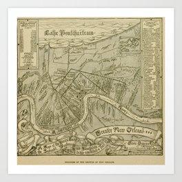 Vintage Map of New Orleans Louisiana (1919) Art Print