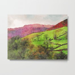 Green Grasmere Hillside, Ambleside, Lake District UK Metal Print