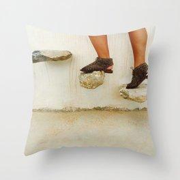 Feet in Greece Throw Pillow