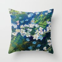 cherry blossoms Throw Pillows featuring Cherry Blossoms by Michael Creese