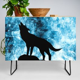 Howling Winter Wolf snowy blue smoke Credenza