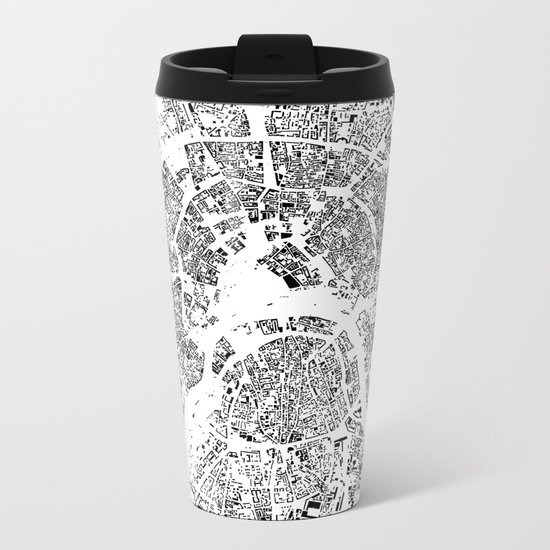Moscow Map Schwarzplan Only Buildings Metal Travel Mug