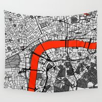 london map Wall Tapestries featuring London Map by Dizzy Moments