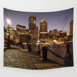 The Lights of Boston pier Wall Tapestry