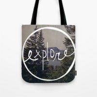 oregon Tote Bags featuring Explore Oregon by Leah Flores