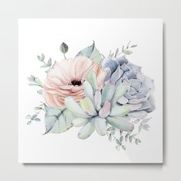 Pretty Succulents by Nature Magick Metal Print