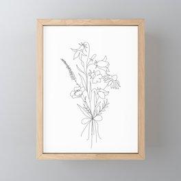 Small Wildflowers Minimalist Line Art Framed Mini Art Print